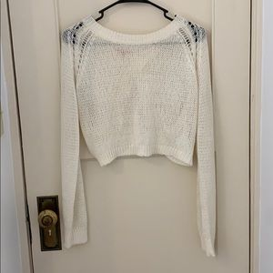 Long Sleeve Crop Sweater with Open Back